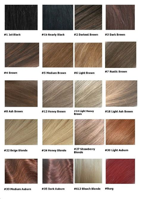 Shades Of Hair Color Names by Remy Hair Extensions Colour Chart