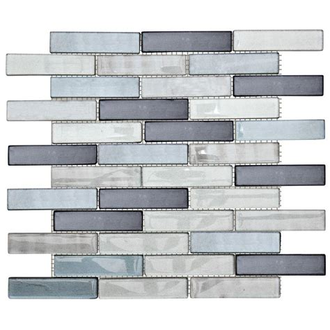 jeffrey court glass mosaic tile jeffrey court sterling silver 12 in x 13 75 in x 8 mm