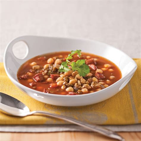 cuisine lentille soupe de lentilles pois chiches et chorizo recettes