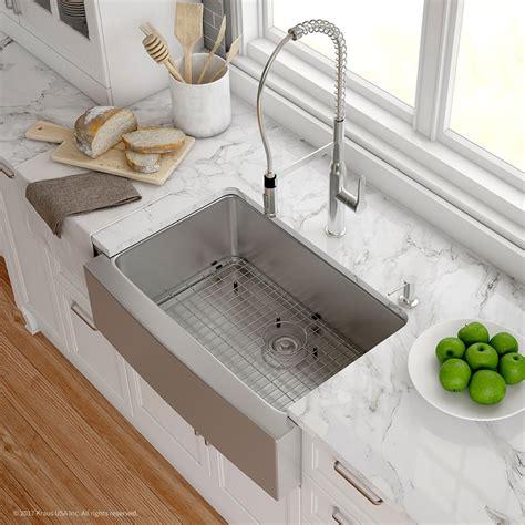 stainless steel farmhouse kitchen sink kraus khf20030165041ch 30 inch apron front kitchen sink 8235