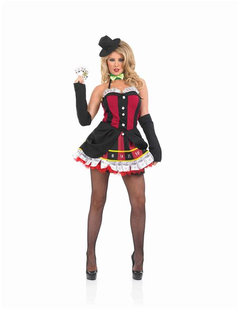 Ladies Gambling Girl Costume For Poker Vegas Fancy Dress Adults Womens