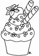 Cupcakes Cupcake Outlines Coloring Clipart Pages Valentine Cake Clip sketch template