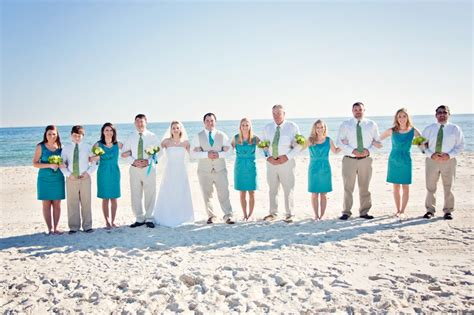 beach wedding bridal party beautiful bridesmaids