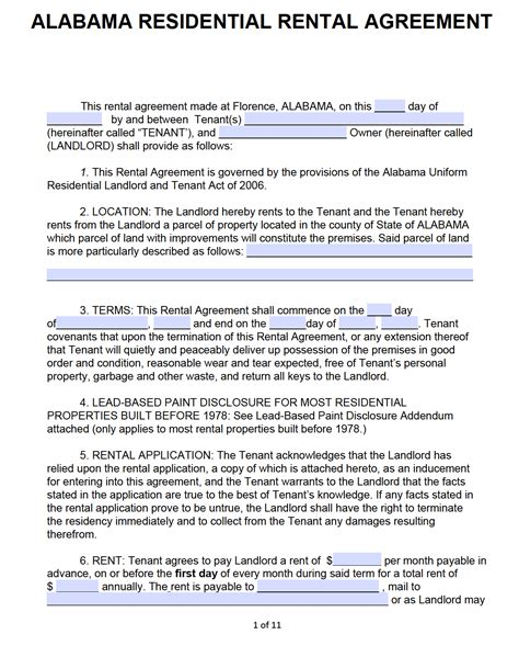 alabama standard residential lease agreement template