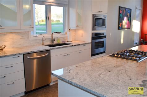 siberian white granite   contemporary kitchen
