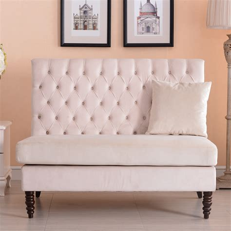 Settee Bench Seat new modern tufted settee bedroom bench sofa high back