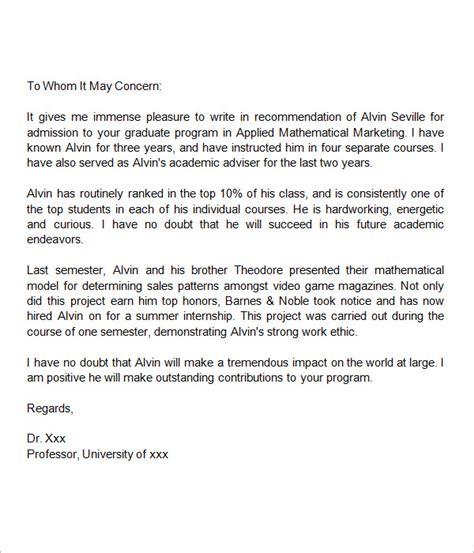 sample letters  recommendation  graduate