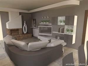 Soggiorno in pietra Stone con divano curvo Florida DIOTTI A&F Arredamenti