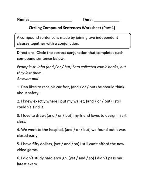circling compound sentences worksheet part  teaching