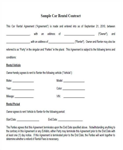 rent   contract sample  examples  word