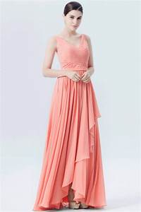 robe de soiree longue corail pour mariage col en v plisse With robe de soirée couleur corail