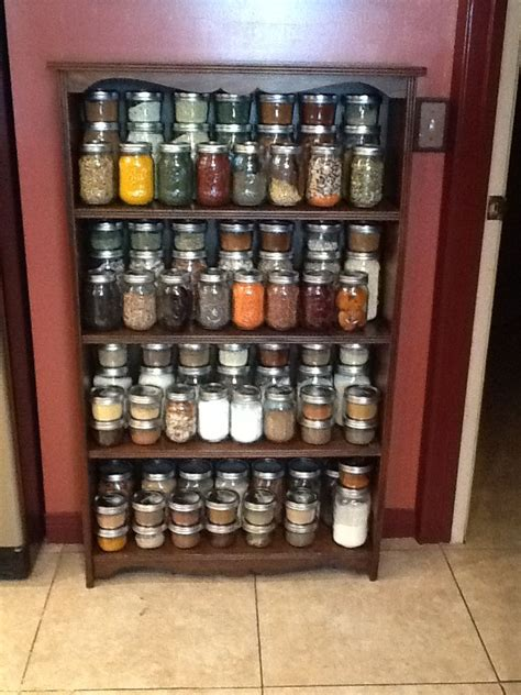 mason jar    spice rack   purposed  shallow