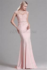edressit pink lace beaded mermaid evening dress prom gown With robe de cocktail combiné avec perle pandora rose