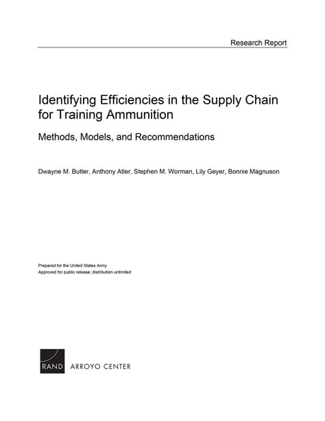 Identifying Efficiencies in the Supply Chain for Training
