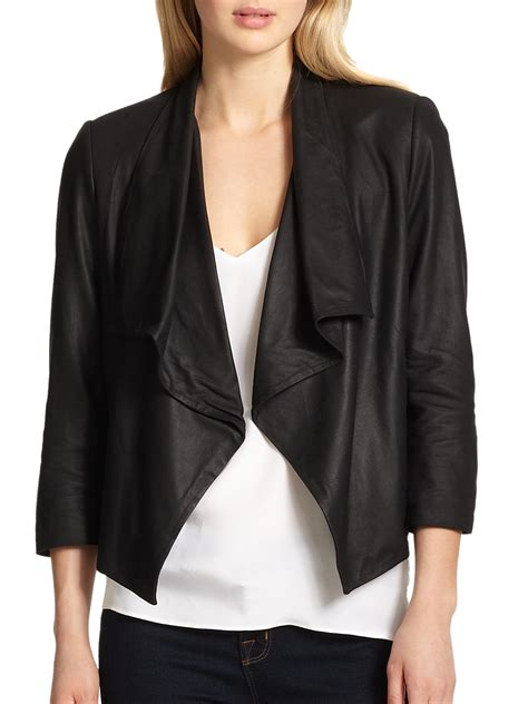 draped leather jacket draped leather jacket in black lyst