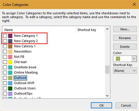 color categories outlook categories and color categories