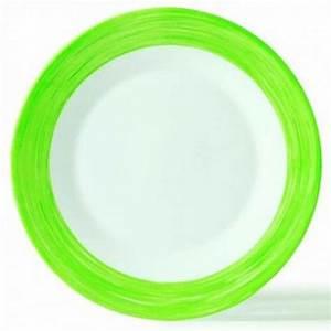 Assiette Creuse Blanche : assiette creuse ronde blanche verte 23cm en arcopal arcoroc ~ Teatrodelosmanantiales.com Idées de Décoration