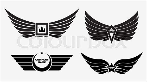 Set Of Four Vector Logo Wings. Winged ...