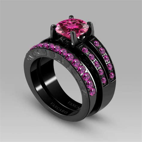 cubic zirconia wedding sets synthetic ruby titanium steel black s wedding ring engage