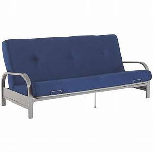 Silver metal arm futon frame w full size mattress gray for Sofa bed no mattress
