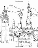 Coloring Pages Landmarks Million Lulu Colour Cats Colouring Europe Adult Mayo Buildings Cityscapes Houses Felines Fabulous Patterns Visit Grown Ups sketch template