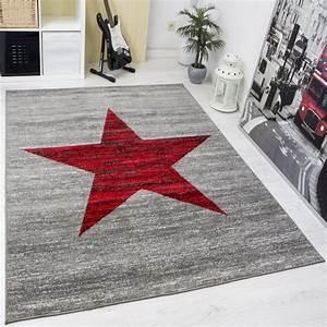 Teppich Jugendzimmer Jungen : jugendzimmer teppich sternmuster meliert in rot grau ~ Michelbontemps.com Haus und Dekorationen