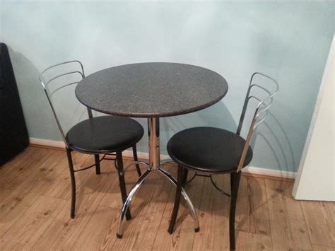 black granite chrome bistro style dinig table 2 chairs