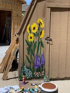 Flower, Mural, On, Shed, In, 2020