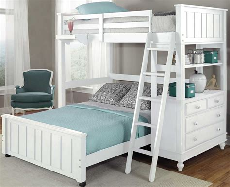 Loft Bed lake house white loft bed with lower bed from ne