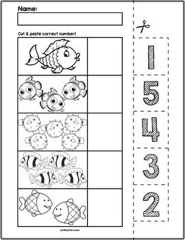 fish cut match worksheets numbers 1 5 by prekautism tpt
