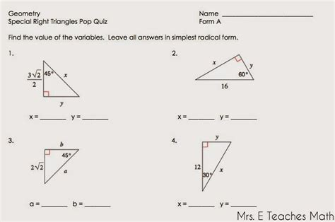 special right triangles worksheets free worksheets library