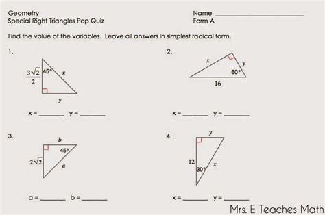 Mrs E Teaches Math Right Triangles Unit