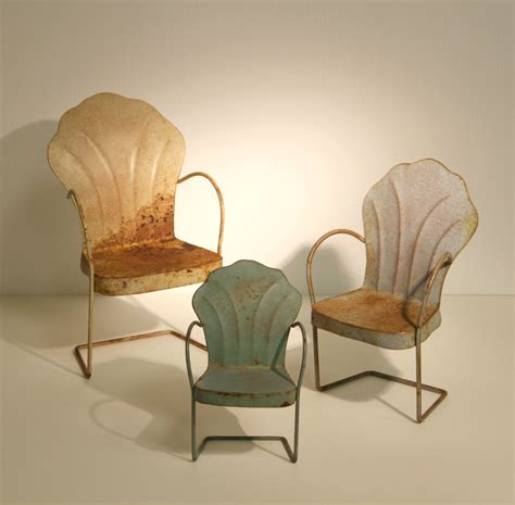 set of three miniature vintage metal lawn chairs