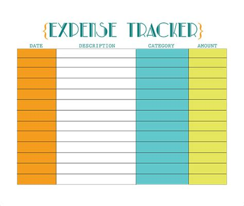 Business Expense Tracking Form by Expense Tracker Dc Design