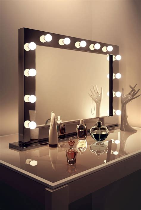 mirror with lights high gloss black makeup dressing room mirror