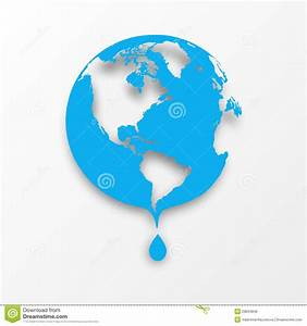Vector Blue Earth Globe With Drop Of Water. Stock Vector ...