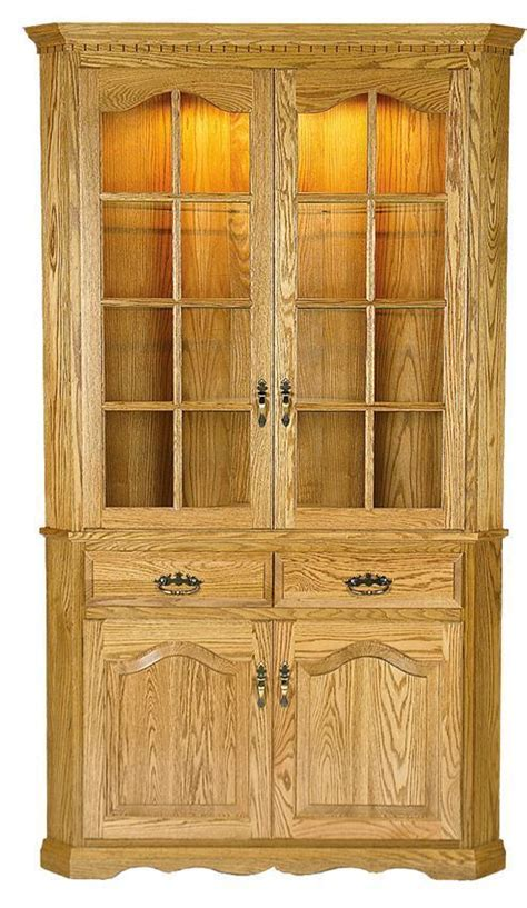 full door corner dining hutch cabinet  dutchcrafters amish