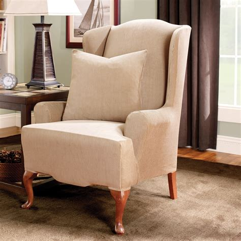 wayfair wingback chair slipcover sure fit stretch stripe wingback chair t cushion slipcover