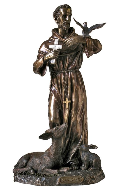 St Francis With Animals Patron Cold Cast Bronze