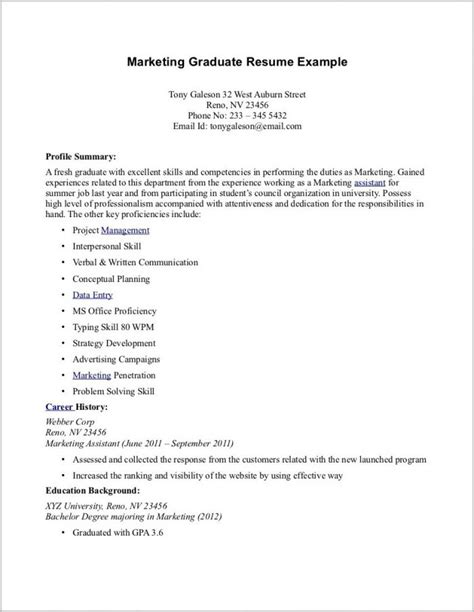 Chronological Resume Fresh Graduate by Cover Letter For Resume Sle For Fresh Graduate Cover