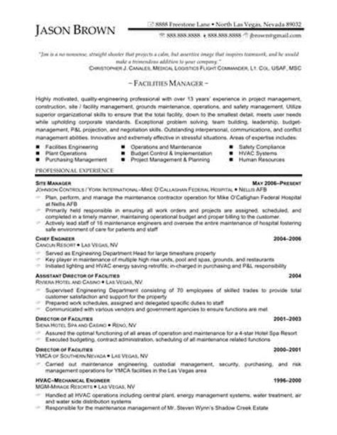 link to an facilities manager resume