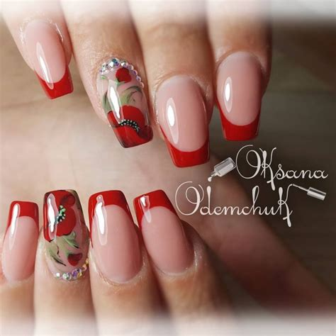 Красный френч на ногтях фото идеи дизайна