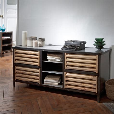 meuble bas metal meuble bas console metal et bois williamsburg guibox