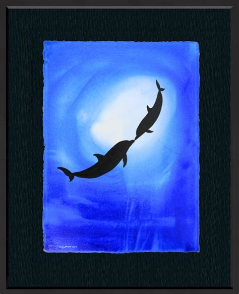 wyland watercolor ocean silhouette  dolphin painting