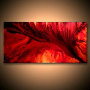Large original abstract painting red black contemporary moder for Dark red paintings