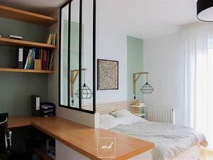 Chambre Dressing : chambre et bureau tout en un suresnes 92 mh deco ~ Voncanada.com Idées de Décoration