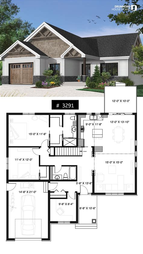 One story northwest style house plan with 3 bedrooms ou 2