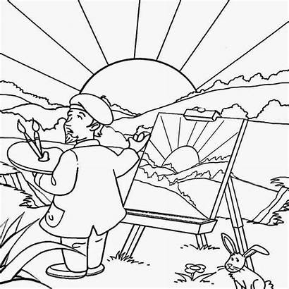 Coloring Pages Landscape Summer Drawing Preschool Printable
