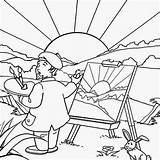 Coloring Pages Landscape Summer Drawing Print Preschool Printable Paint Scenery Painting Sun Sunny Printables Outline Crafts Clipart Artist Fun Adults sketch template