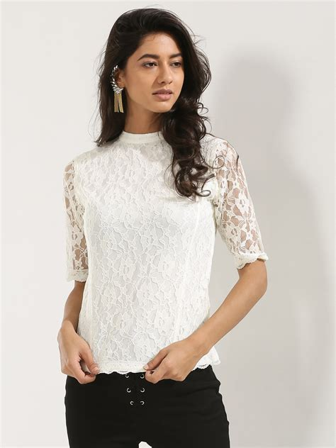 buy high neck scallop hem lace top   style